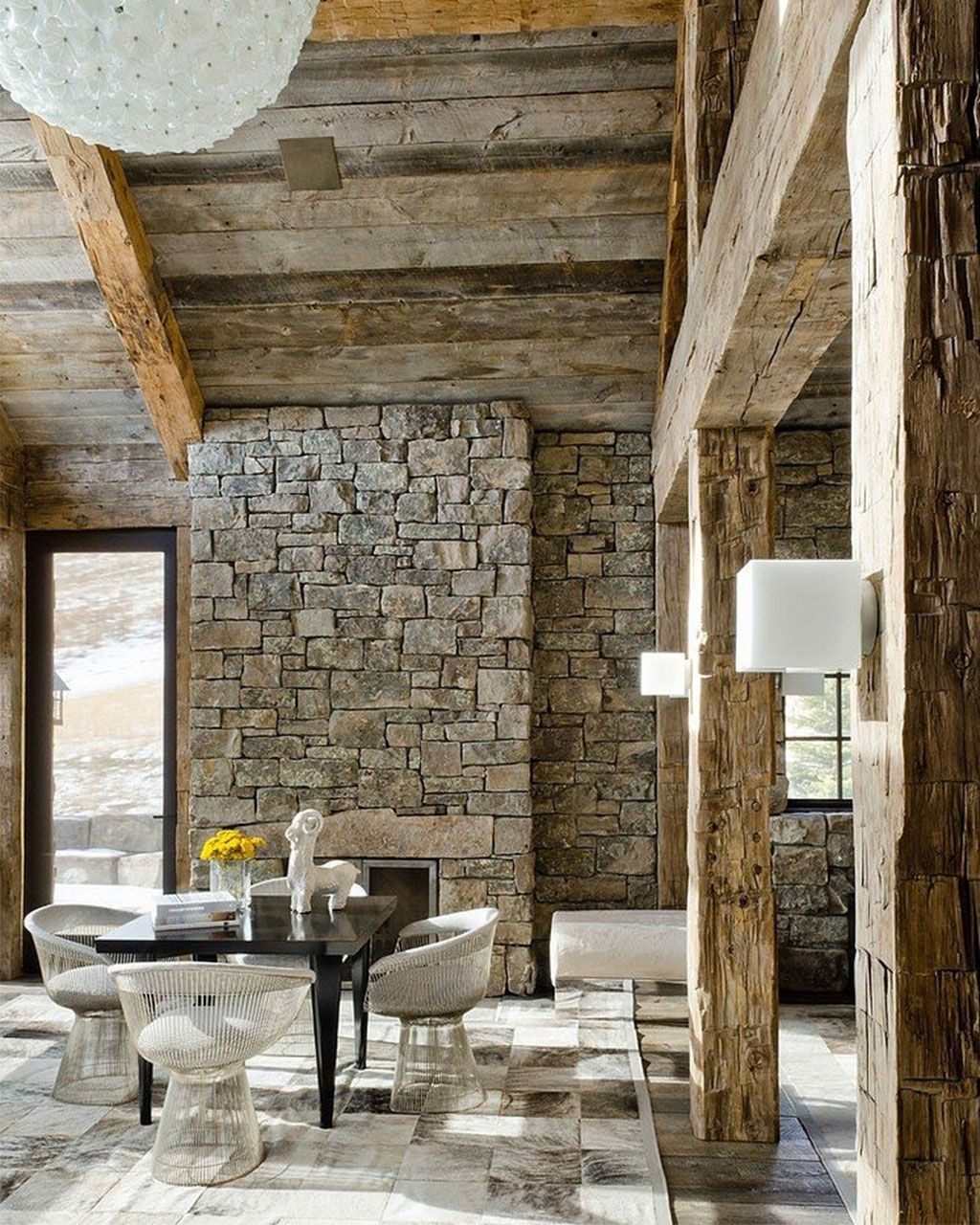 Modern Rustic Home Decor Ideas Part - 45: Gorgeous Modern Rustic Living Room And Dining Area Complete With Stone  Walls And Wood Beams.