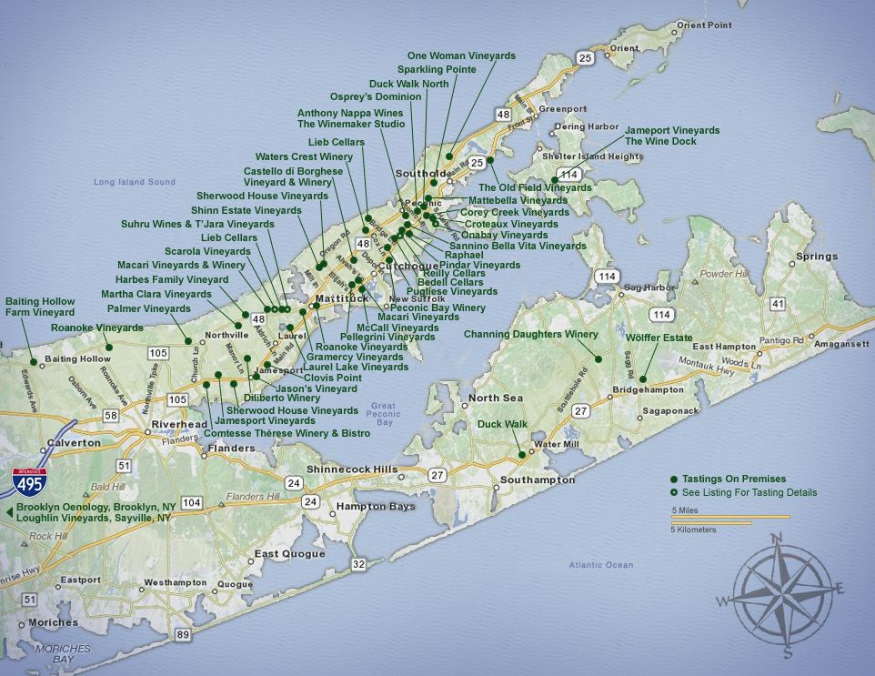 Long Island Winery Map wine map | The Hamptons | Long island winery, Map long island