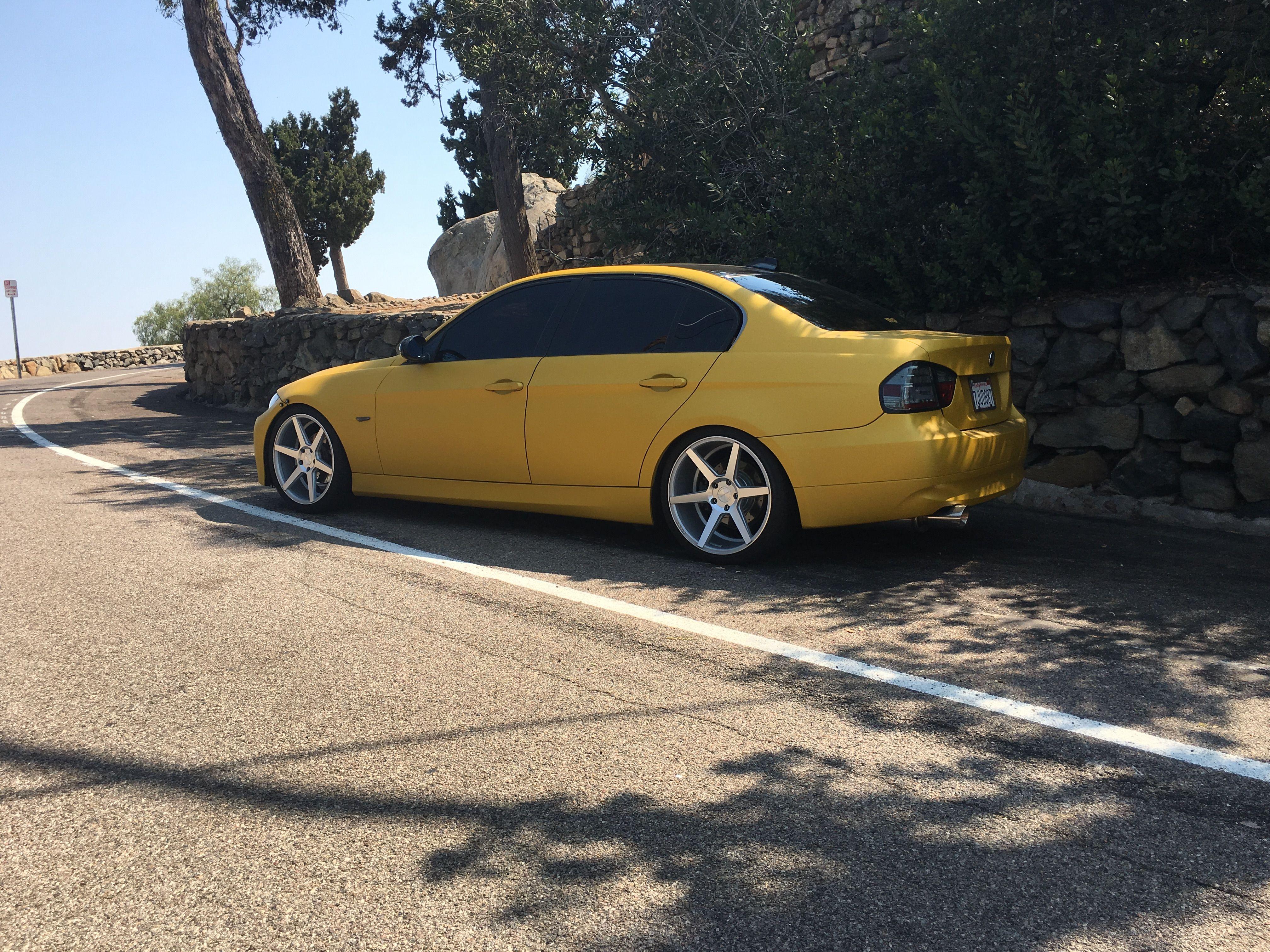 Heatwave yellow E90 BMW full vinyl wrap