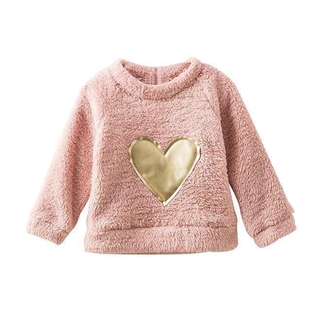 de93383be Fleece Thick Winter Warm Clothing Heart Appliques Baby Sweatshirt For Girls  Kids Long Sleeve Cotton Tops Children's Sweatshirts