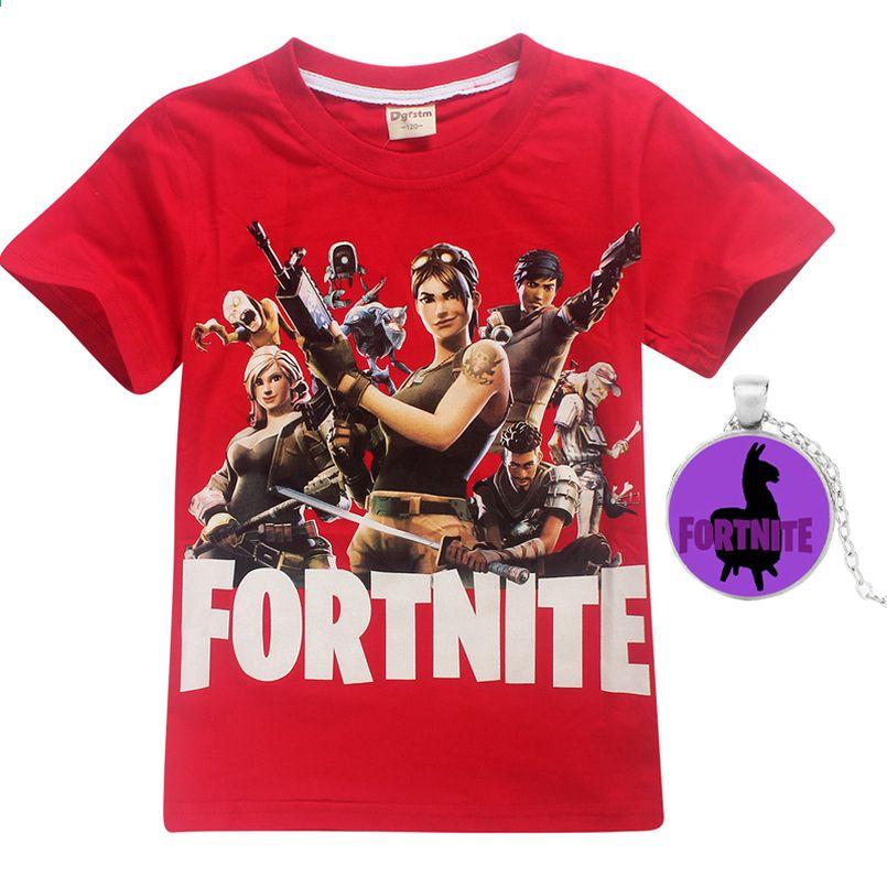 Fortnite camiseta de verano niños ropa superior 100% algodón niña niños  ropa divertida camisetas collar e7d3edb0e91