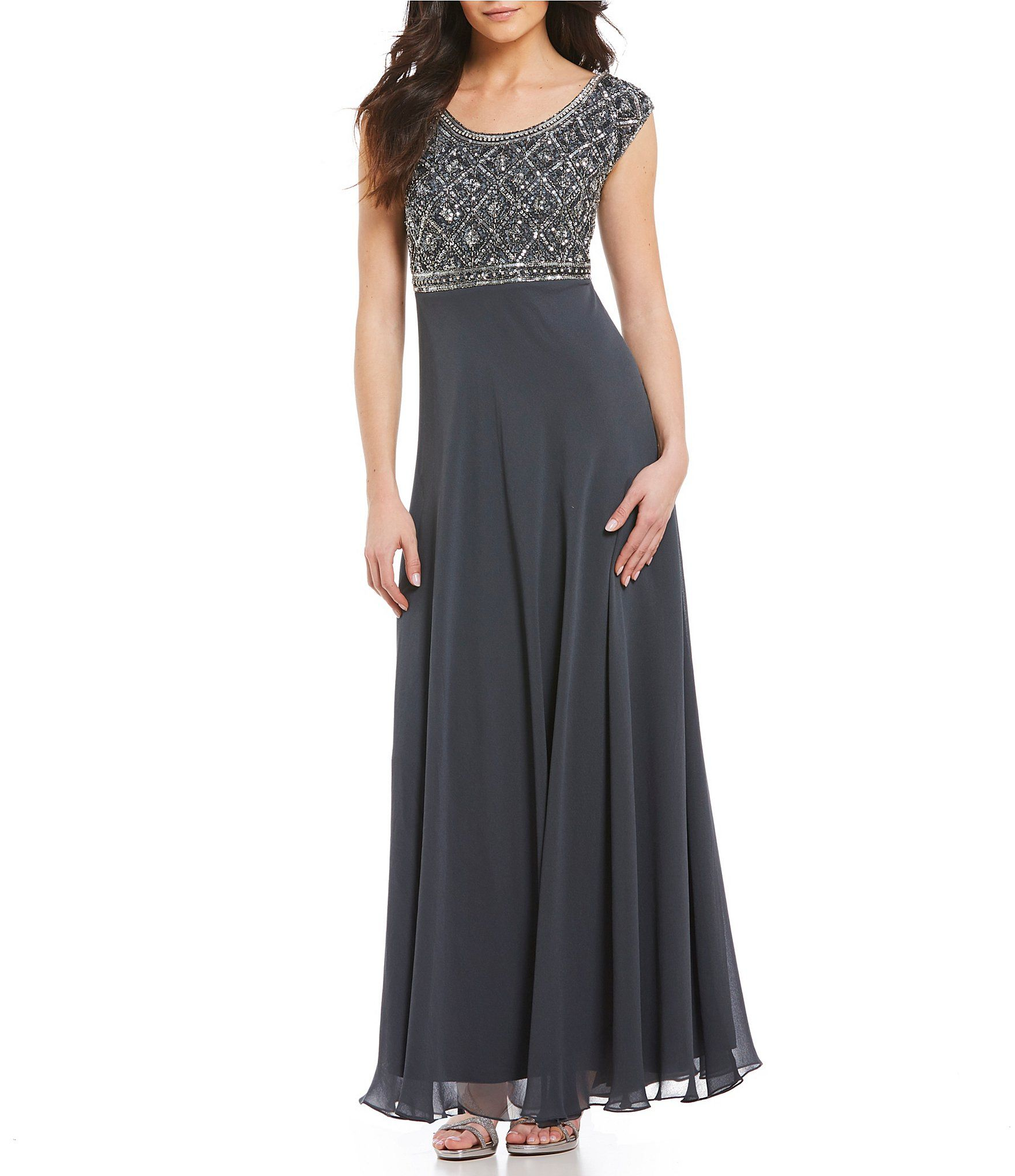 Jkara Petite CapSleeve Beaded Gown