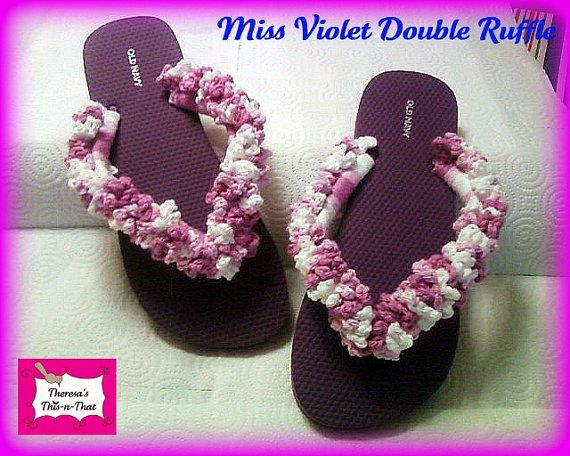 fd60c6ba57c Double Ruffle Flip Flops-Hand Crocheted by Theresa s This-n-That ...