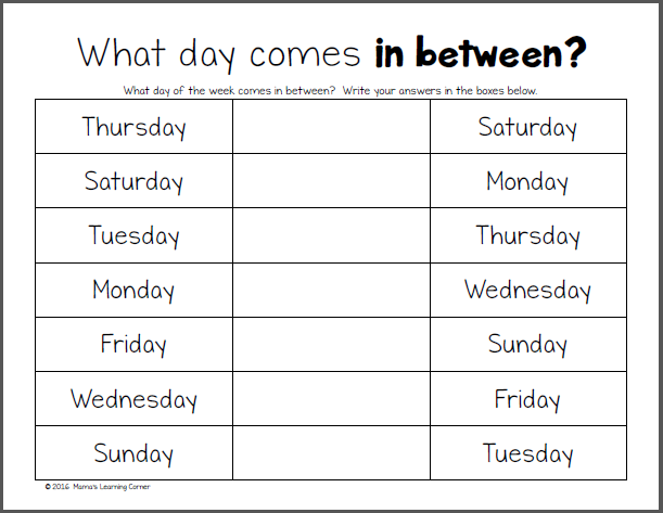 Days Of The Week Worksheets Worksheets Calendar Time