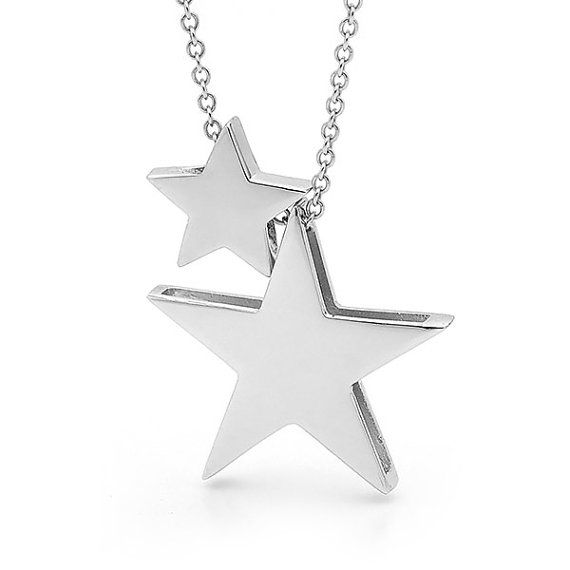 Sterling silver double star necklace silver by argentondesign sterling silver double star necklace silver by argentondesign jewelry i love pinterest silver stars star necklace and star pendant aloadofball Image collections
