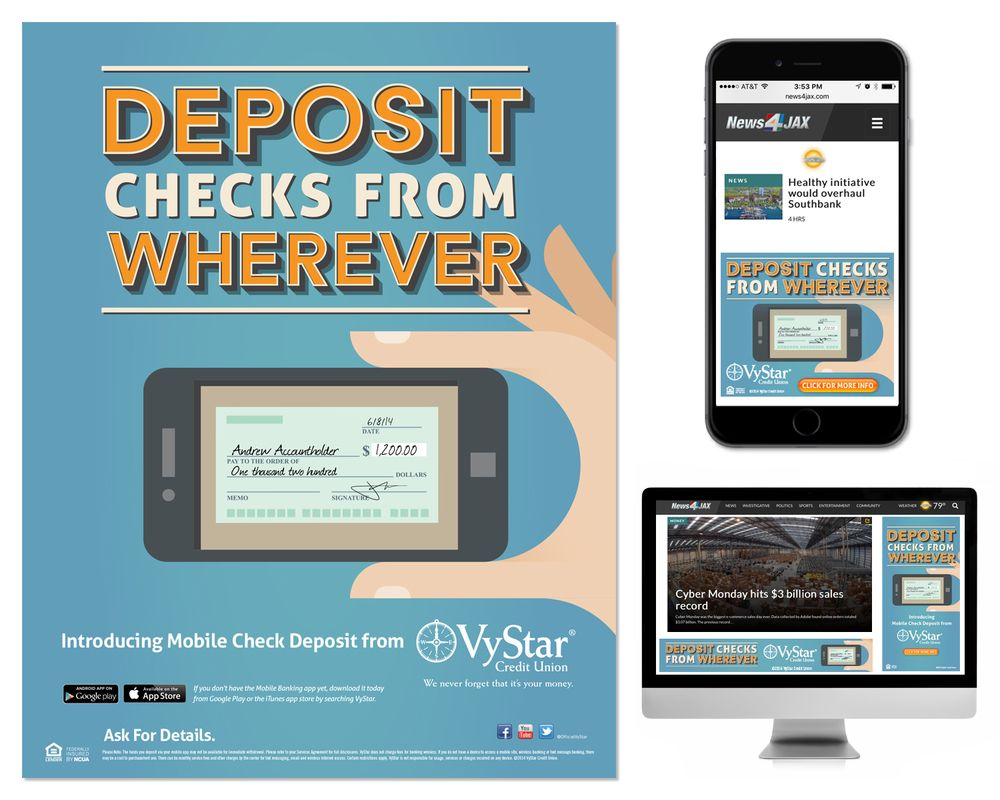 Mobile banking campaign with images credit union