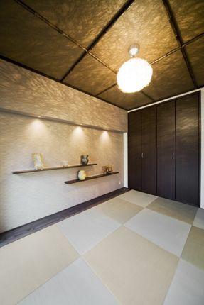 施工事例 和室リフォーム 天井に黒竹をあしらったスタイリッシュな