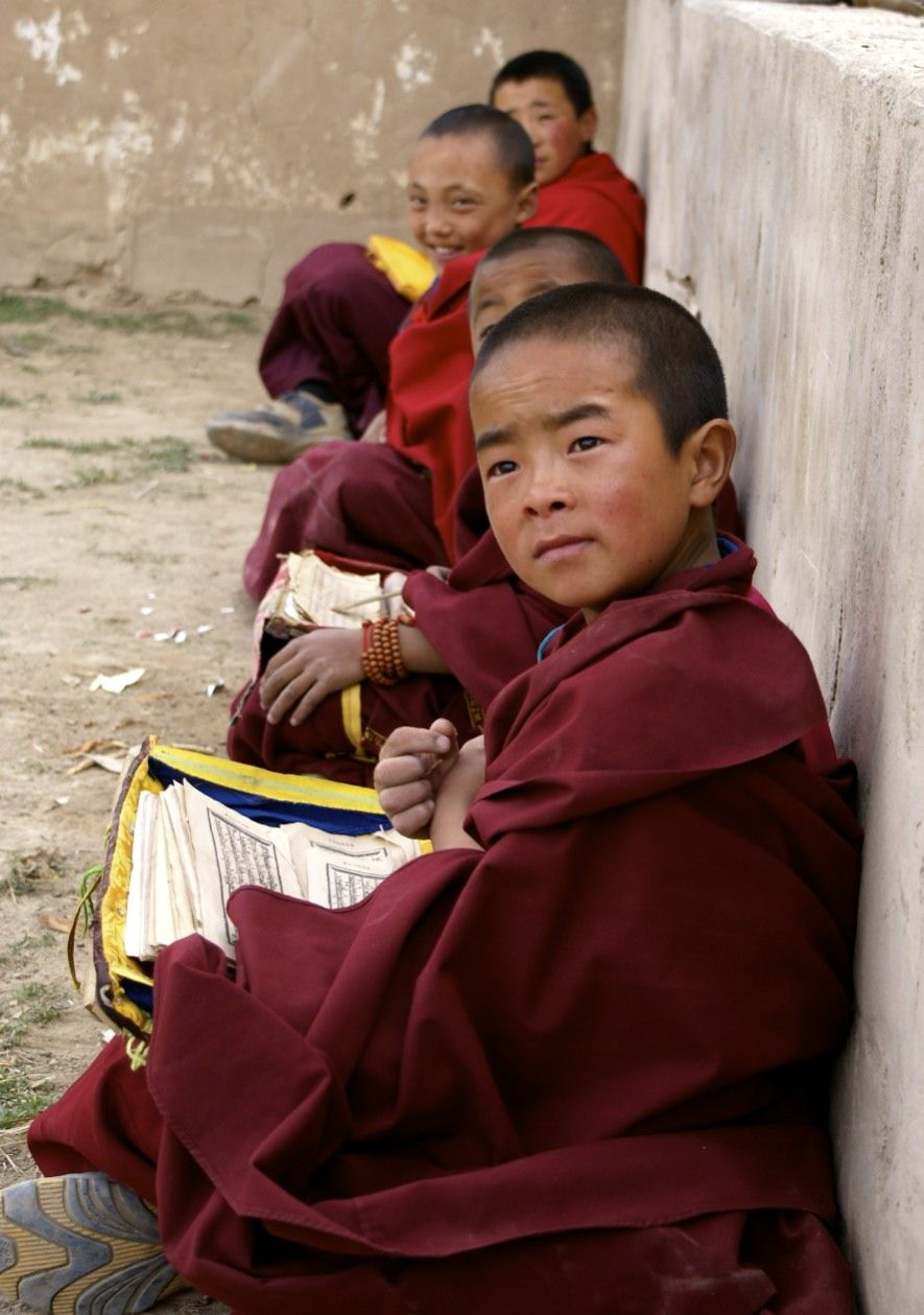 Young monks from Tongde county in Tsolho prefecture, Hainan prefecture in northern Qinghai, Tibet, China