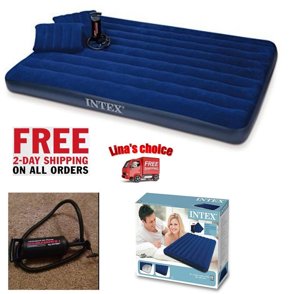 Queen Size Airbed Intex Air Mattress Bed Inflatable With Blow Up Pump 2 Pillows Intex Blow Up Beds Air Bed Pillow Sale