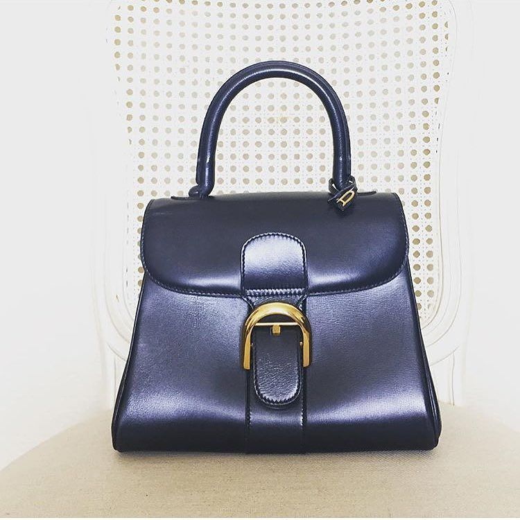 Vintage Delvaux Brillant Pm Handbag In Navy Blue Calfskin