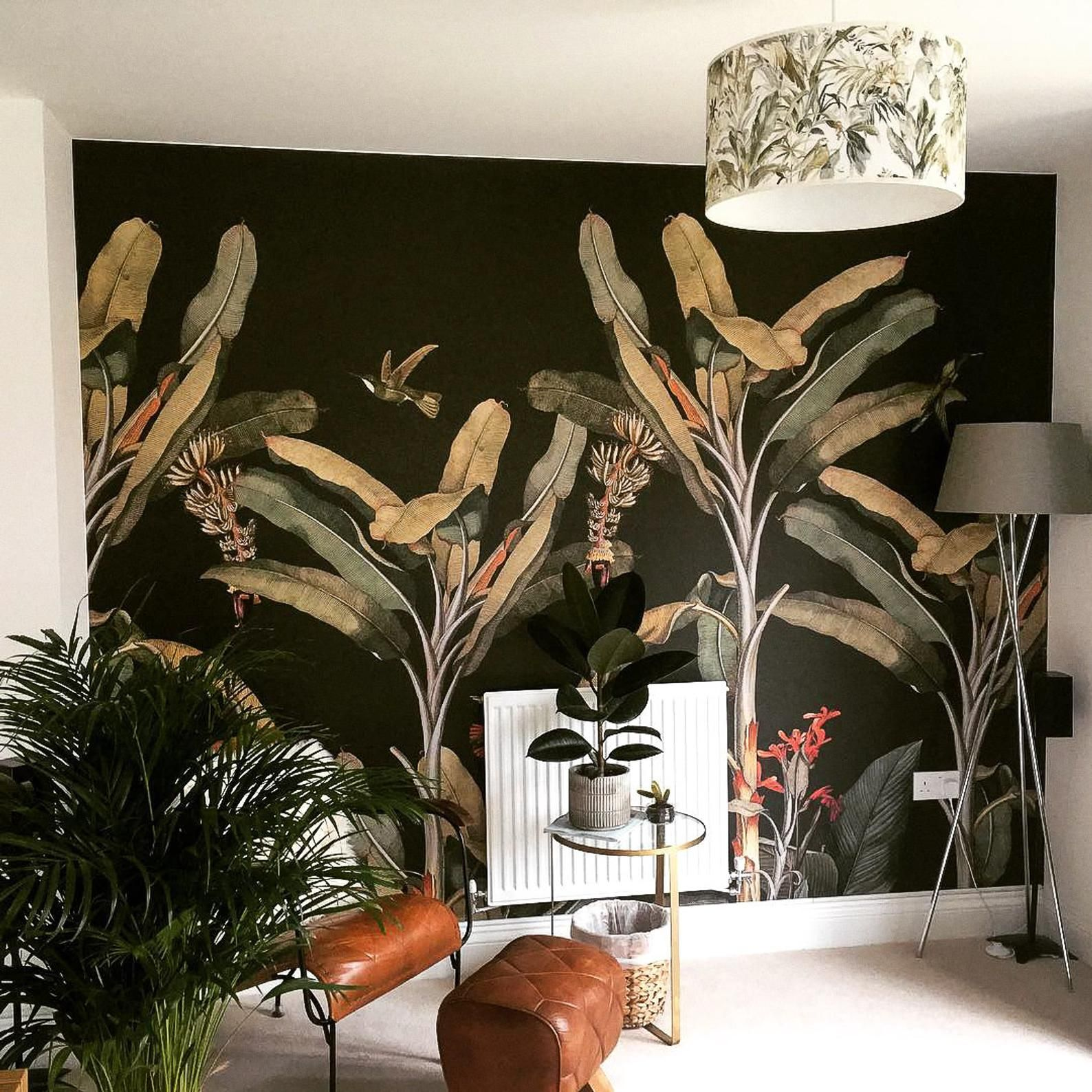 Dark palm tree removable wallpaper, Jungle wall mural