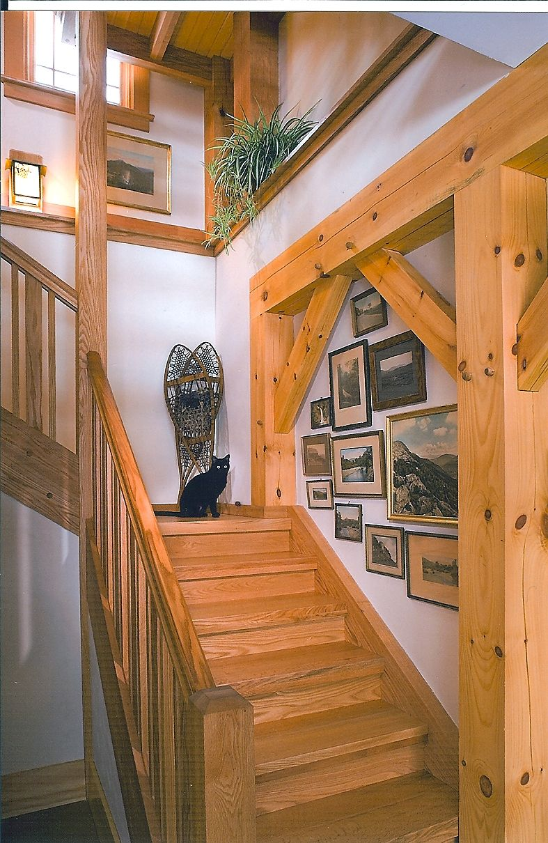 What A Nice Walk Down To The Lower Level Another Fine Home From Woodhouse Www Timberframe1 Barn House Design Farmhouse Style House Timber Frame Construction