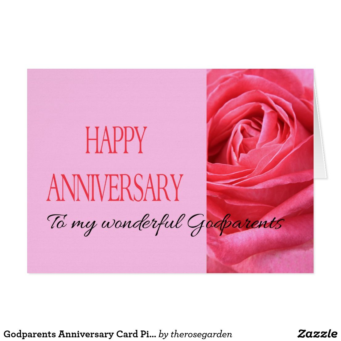 Godparents Anniversary Card Pink Rose Surprise A Special Couple On