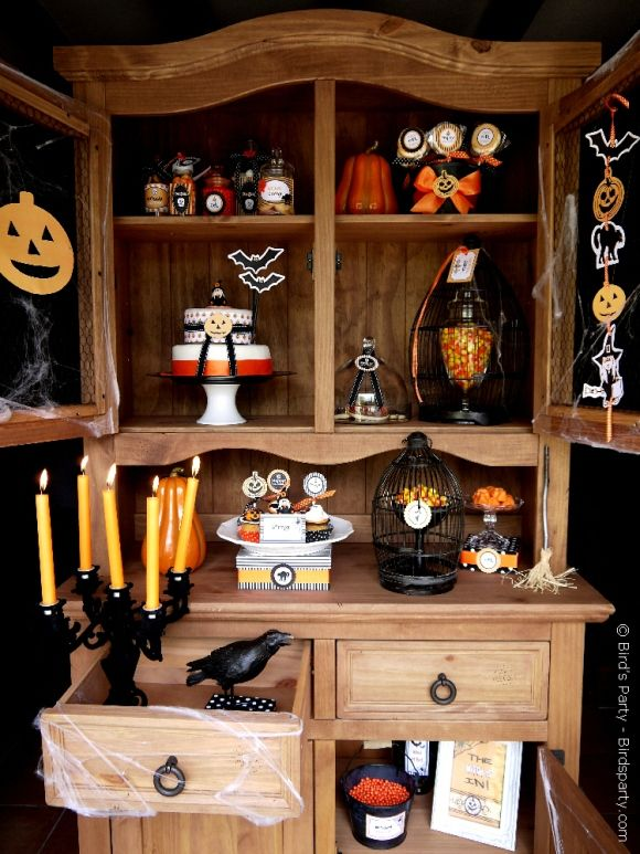 Halloween Spooky Party Printables Supplies  Decorations Kit with - decorating for halloween party
