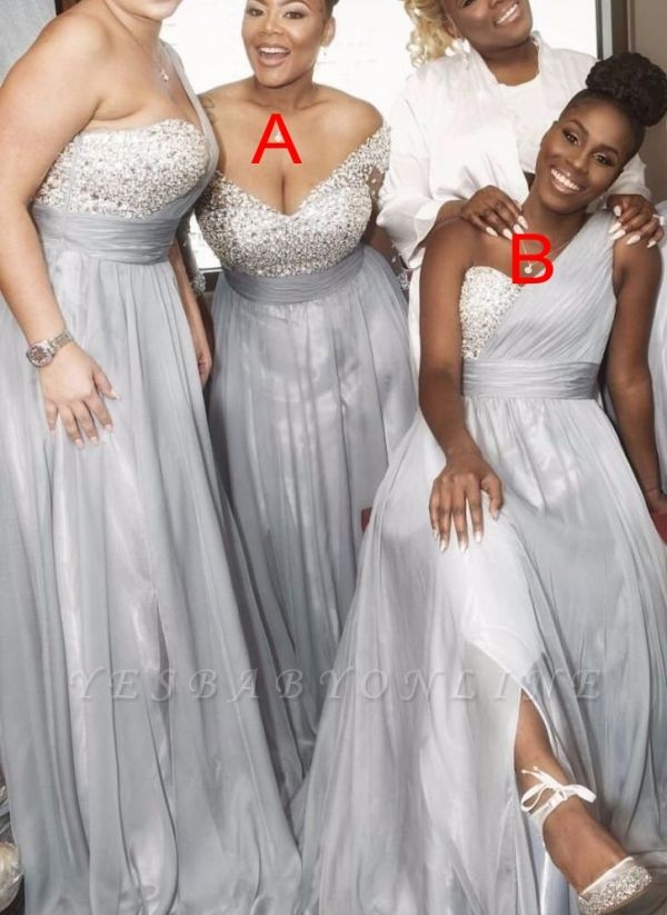 Silver Chiffon One Shoulder Bridesmaid Dresses Long A Line Wedding Guest Dresses In 2020 One Shoulder Bridesmaid Dresses Perfect Bridesmaid Dress Formal Bridesmaids Dresses