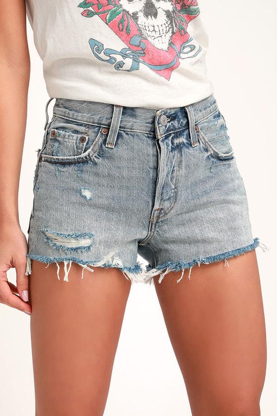 501 Light Wash Mid-Rise Distressed Denim Cutoff Shorts