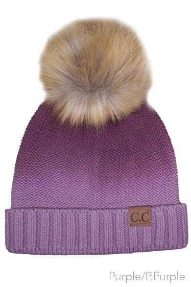 49b306d15ecd23 ScarvesMe CC Knitted Ombre Fold Over Faux Fur Pom Pom Beanie Review ...