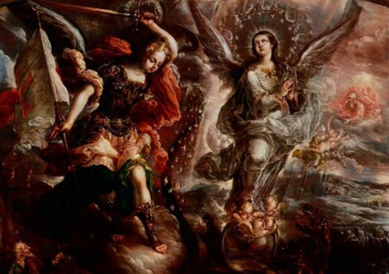 La virgen del apocalipsis//Finales del siglo 17//Museo Bello y González;Ciudad de Puebla, México -Gonzalo De VIllalpando (México)