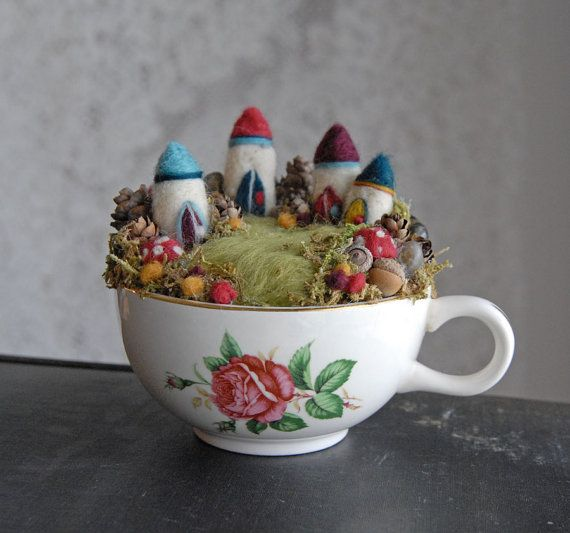 Tiny Fairy Houses and Village Waldorf Fairy Garden in a Cup