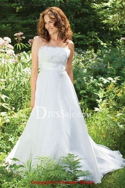 Graceful Strapless Long Dress Covered by Fancy Organza with Ribbon Sash
