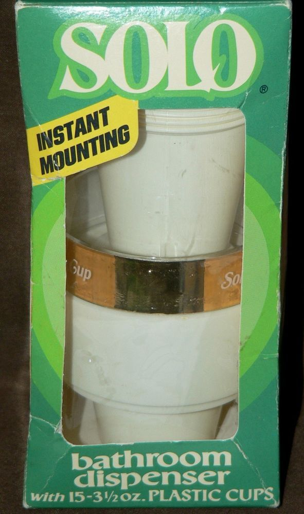 Vtg Solo Cup Dispenser Plastic White Gold Clear Holder Wall Mount Sealed Bath Plastic Cups Sell Items Ebay