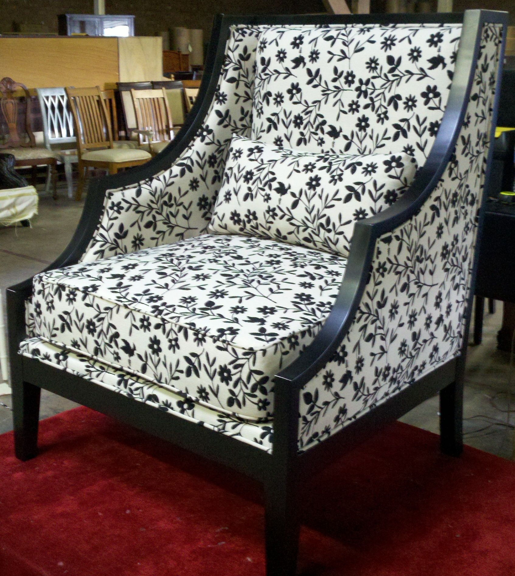 Best Floral Print Black White Upholstered Chair With Images 400 x 300