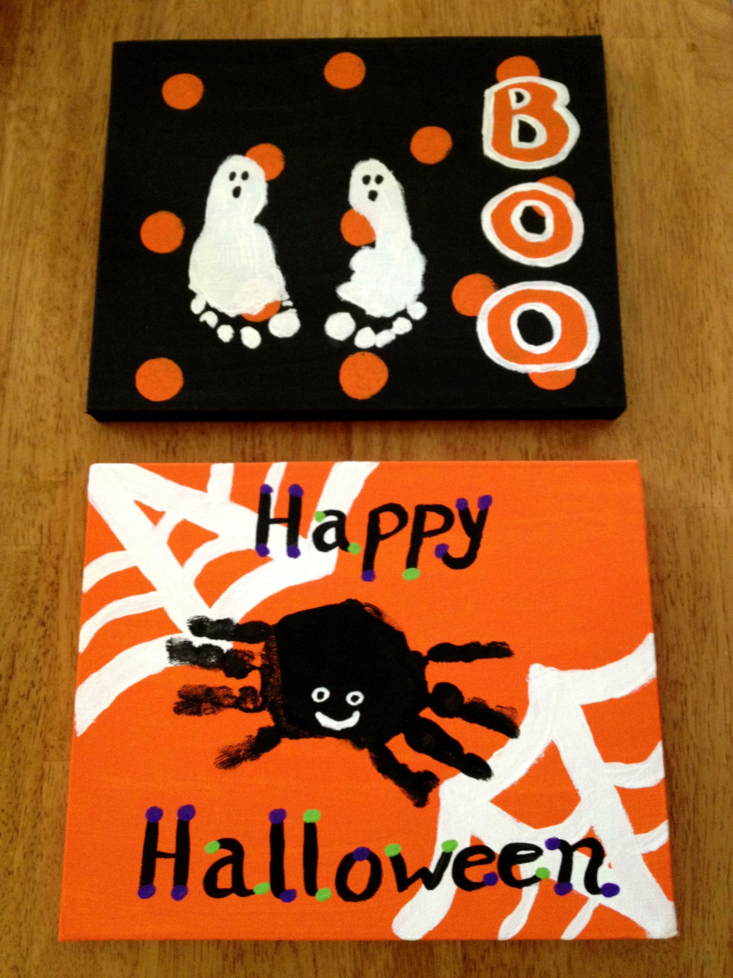 our halloween handprint footprint craft halloween pinterest halloween halloween deko und. Black Bedroom Furniture Sets. Home Design Ideas