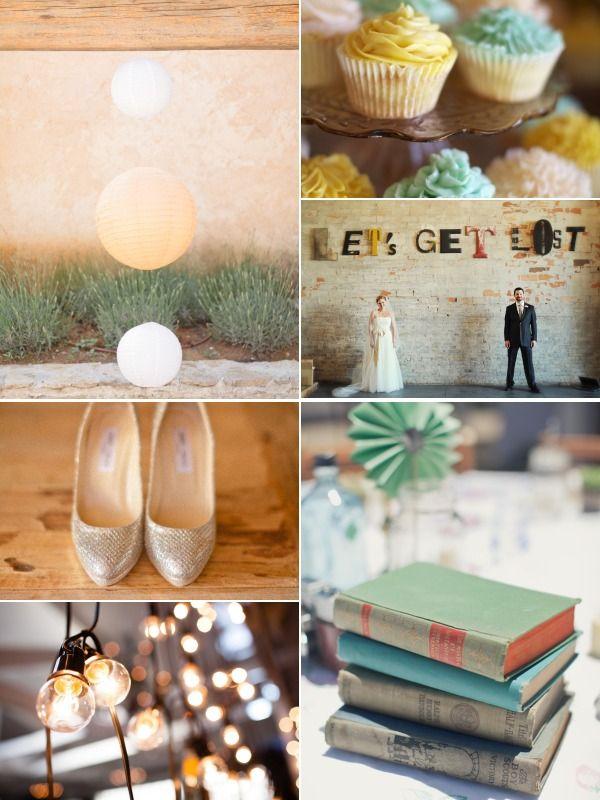 Seafoam & Gold bohemian wedding inspiration board