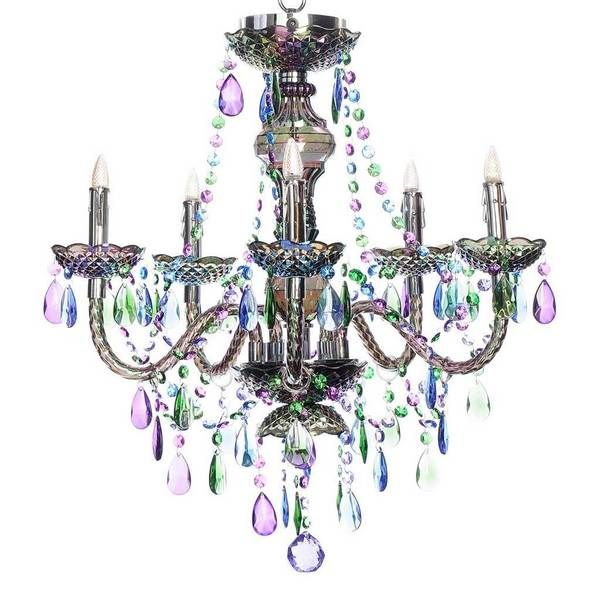 River Of Goods Peacock Jewel Acrylic 25.5-inch High 5-arm