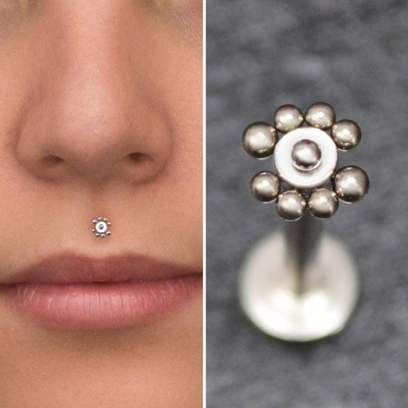 Medusa Lip Ring Surgical Steel Lip Jewelry 16g Monroe Piercing