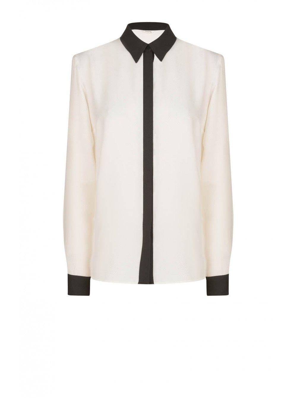 Naf naf nouvelle co h15 chemise bicolore ecru/noir 1