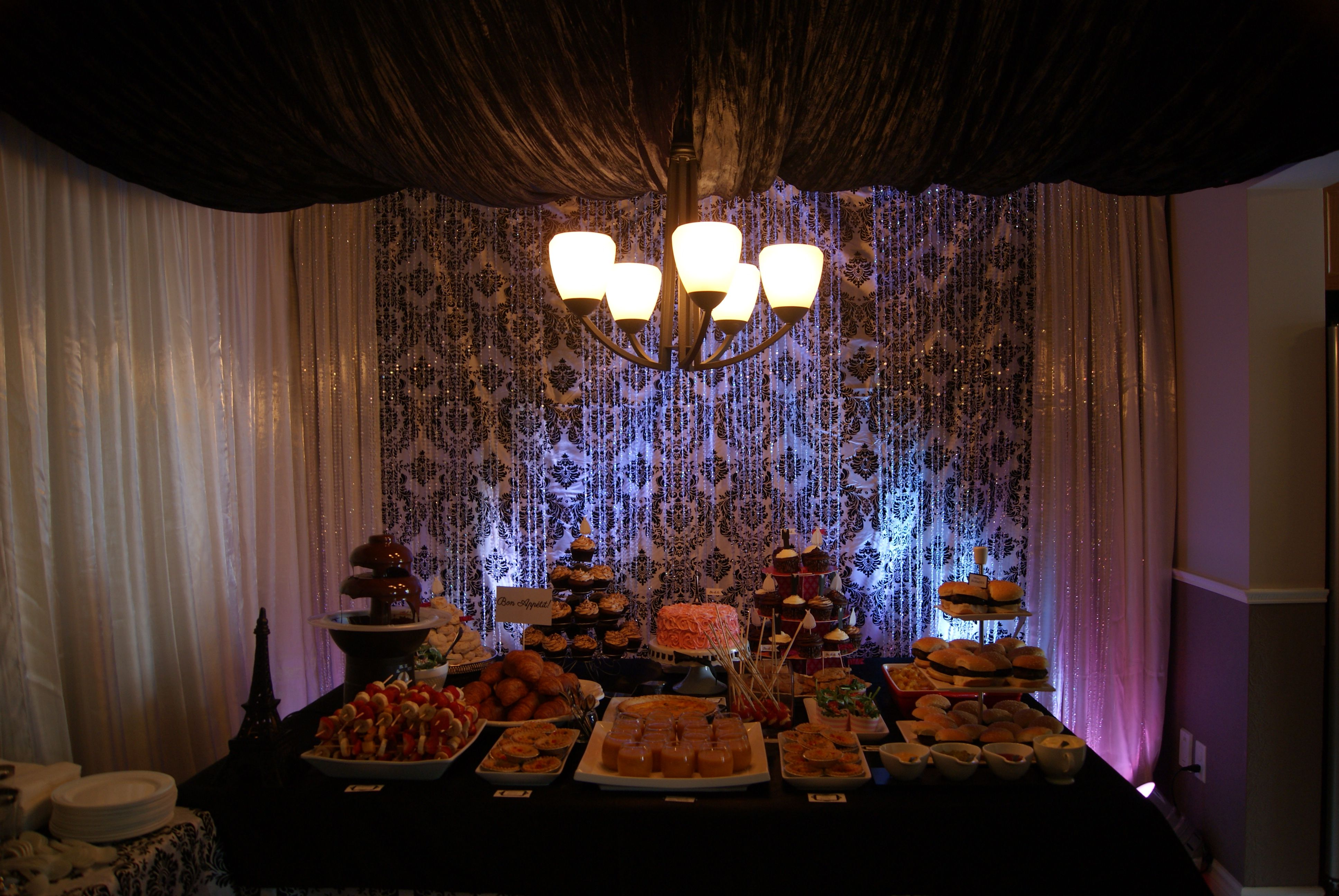 Parisan Themed Bridal Shower. Black and White with a touch of Fushia. Home Decor Canopy made in Dinning Room by Design & Decor. Tables & Menu Items also set up Design & Decor. Cooking done by friends & Sabina for Nooren's Bridal Shower June 2013 Ottawa, Canada