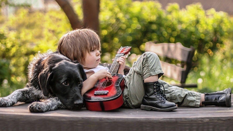 Cute boy hd wallpaper - Cute Boy Playing Guitar With Dog Hd Wallpaper