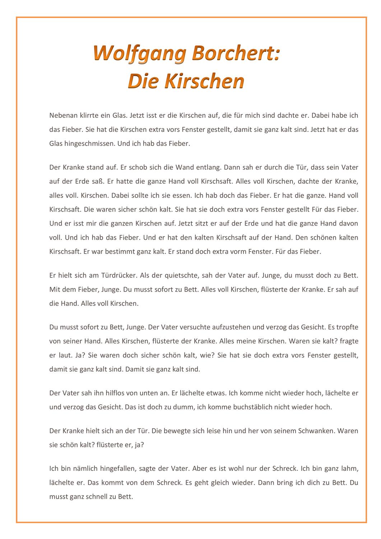 Kurzgeschichte Wolfgang Borchert In 2020 Kurzgeschichten Inhaltsangabe Geschichte