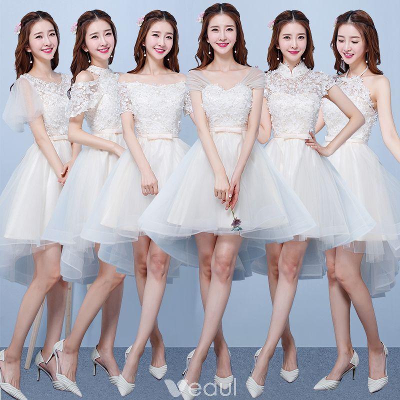 422de6622 Vestido Alto Champán Vestidos De Damas De Honor 2018 A-Line   Princess  Apliques Flor Bowknot Cinturón Asimétrico Ruffle Sin Espalda Vestidos para  bodas