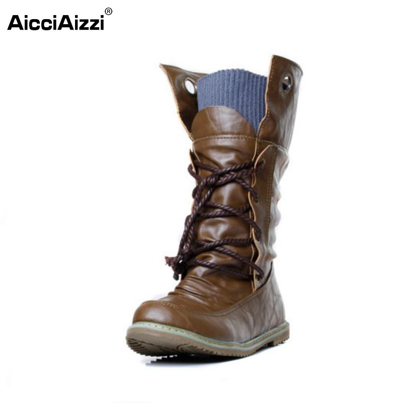 여성 플랫 반 짧은 부츠 겨울 botas 보낸 신발 패션 크로스 스트랩 라운드 보헤미아 발가락 따뜻한 부팅 신발 P19357 크기 34-43