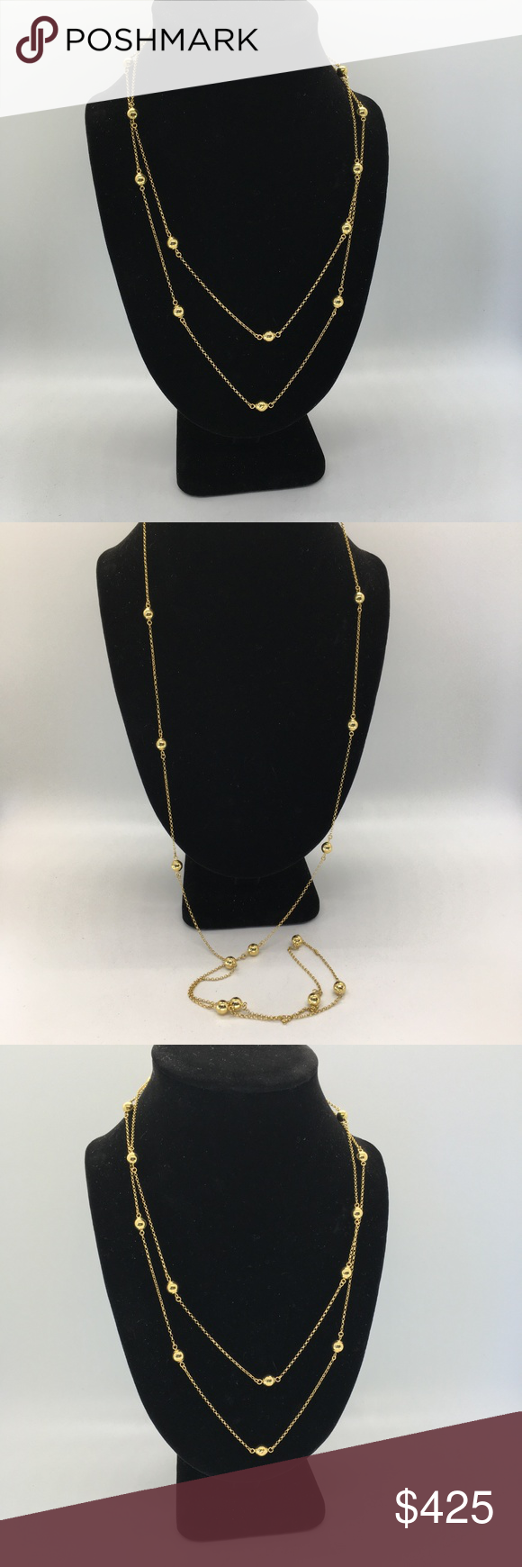 14k Italian Milor Chainlink And Beaded Gold Neckla Womens Jewelry Necklace Chain Link Stone Necklace