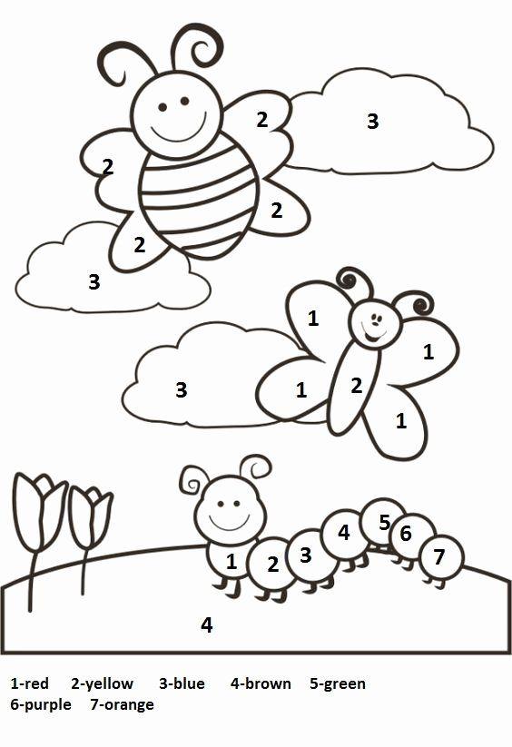 Number Coloring Worksheets for Kindergarten Pdf in 2020 ...