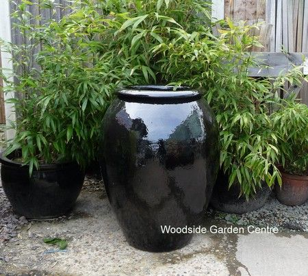 Extra Large Black Glazed Pot Water Jar Woodside Garden Centre Pots To Inspire