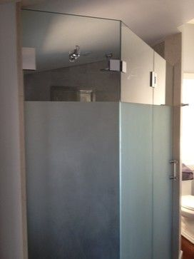 Partially Frosted Glass Shower To Allow For Light And Privacy At