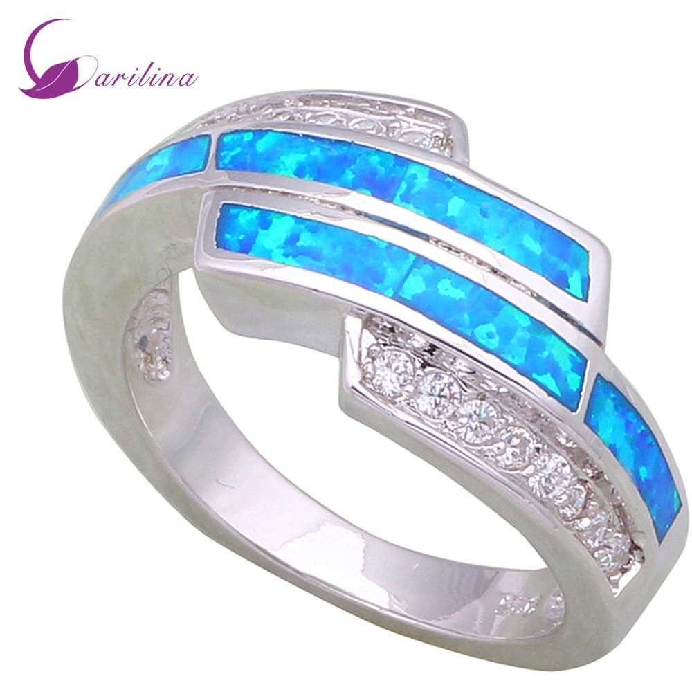 Latest design womenus rings white cubic zirconia blue fire opal