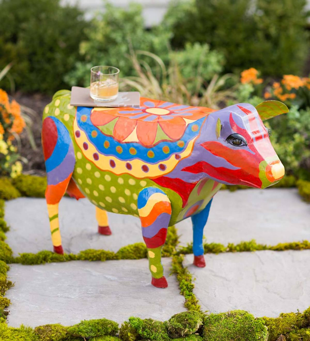 Folk Art Cow Metal Side Table Adds Fanciful Fun And