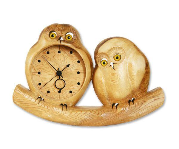 JAPANSQUARE.com - 란마 조각 목공품 올빼미 시계