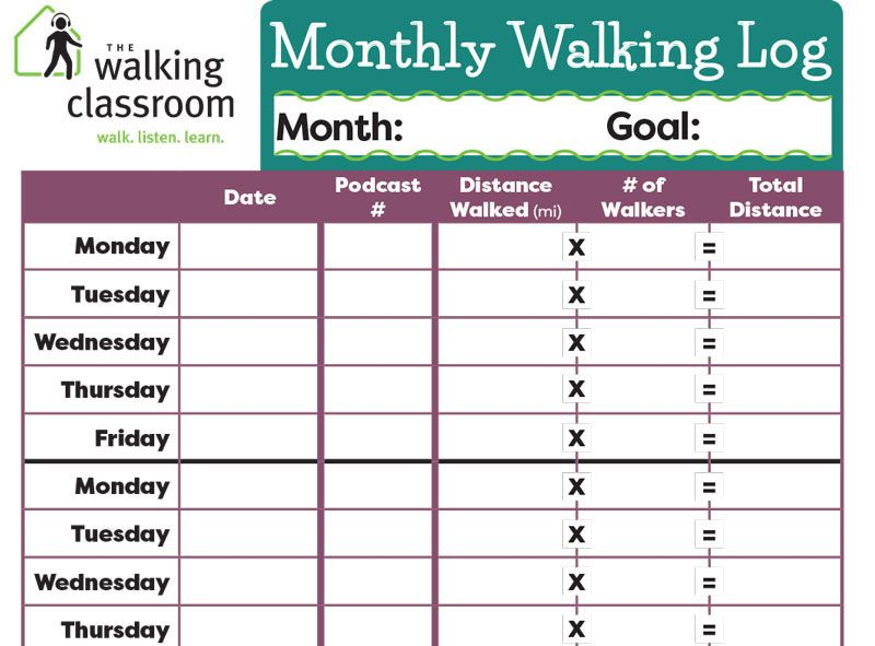 use this monthly walking log to track your classes progress with the