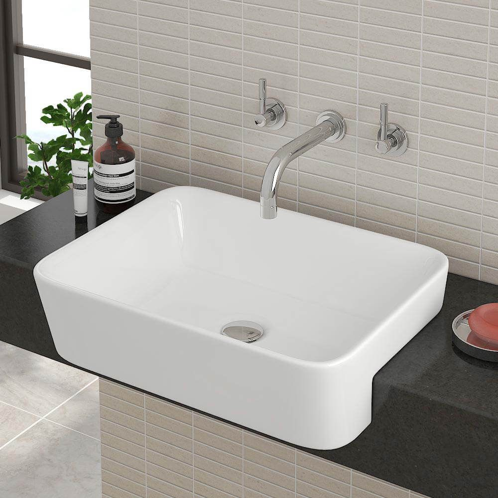 In The Spirit Of Change 12 Types Of Sinks You Can Install Into Your Bathroom Semi Recessed Basin Semi Recessed Sink Small Bathroom