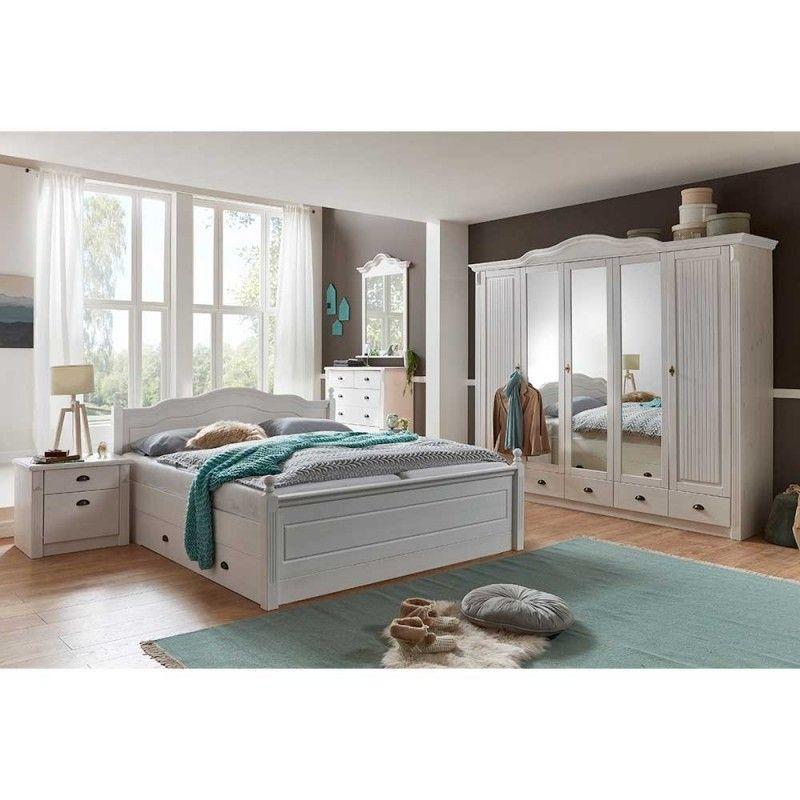 landhaus schlafzimmermöbel set aus kiefer weiß laburita