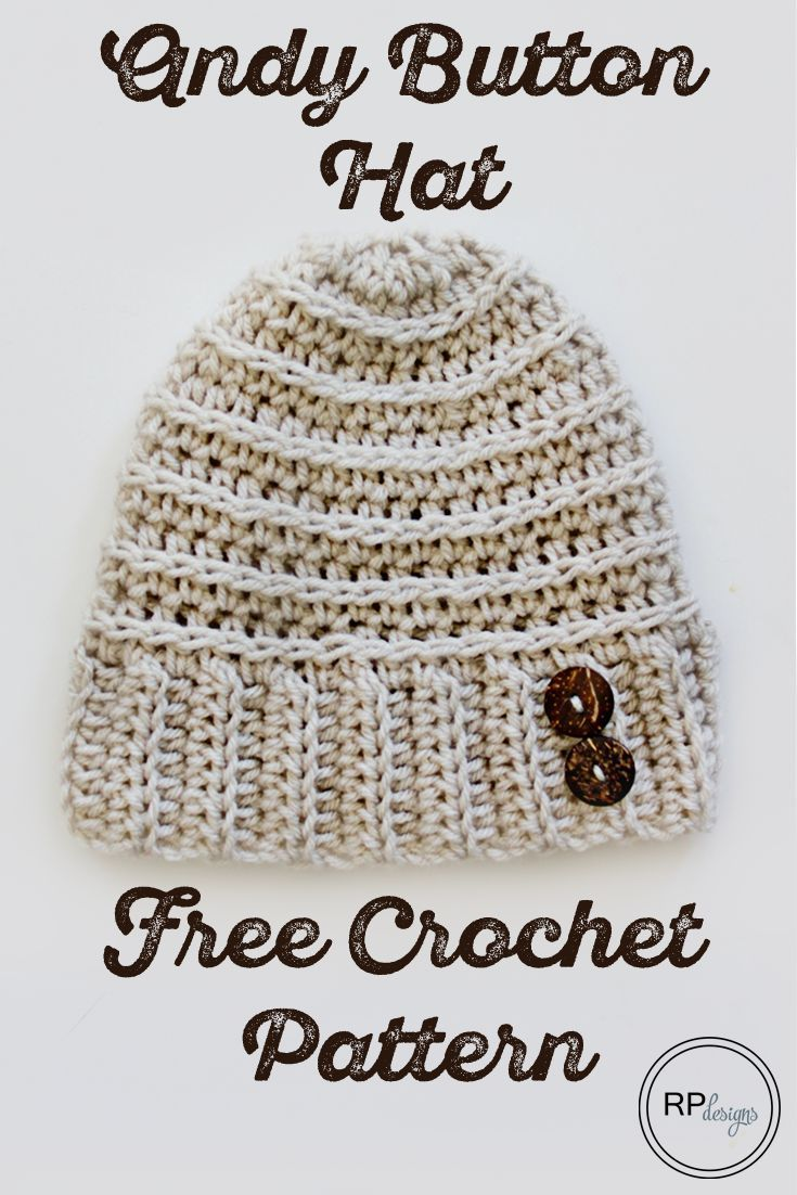 The Andy Button Hat - Free Crochet Pattern | Gorros, Ponchos y Tejido