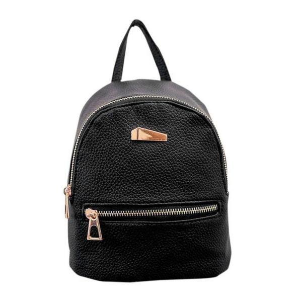 Dresslink - Dresslink Fashion Solid Small Travel Backpack Synthetic Leather School Bag - AdoreWe.com
