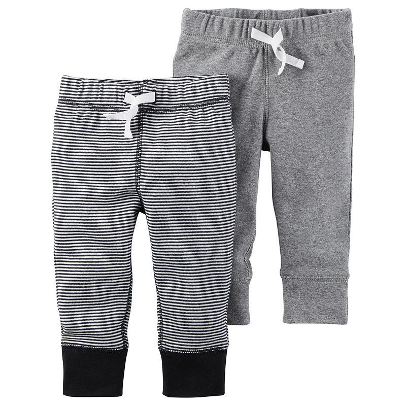 Carters Baby Boys 2-Pack Shorts 12 Months, Dark Gray//Stripes