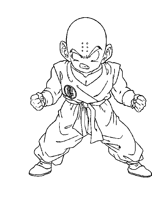 Dragon ball kuririn issiue the power coloring pages for Dbz coloring pages online